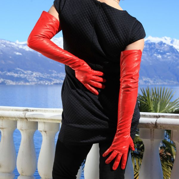 MICELI - Rote Lederhandschuhe schulterlang