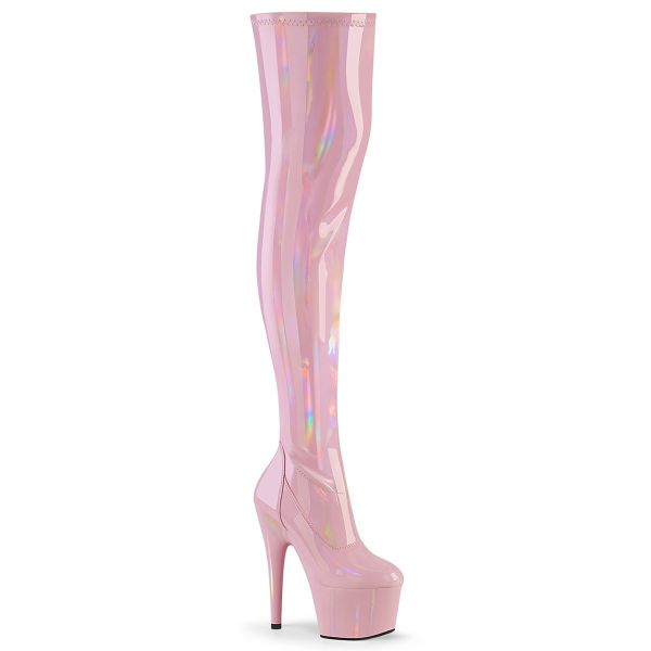 Overknee Plateau Stiefel ADORE-3000HWR Stretchlack Hologramm baby pink
