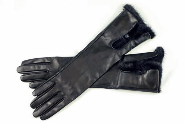 Luxus Damen Lederhandschuhe mit Nerz