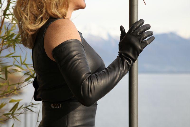 7d3888fce35d57 Lange Damen Lederhandschuhe - MICELI - Made in Italy