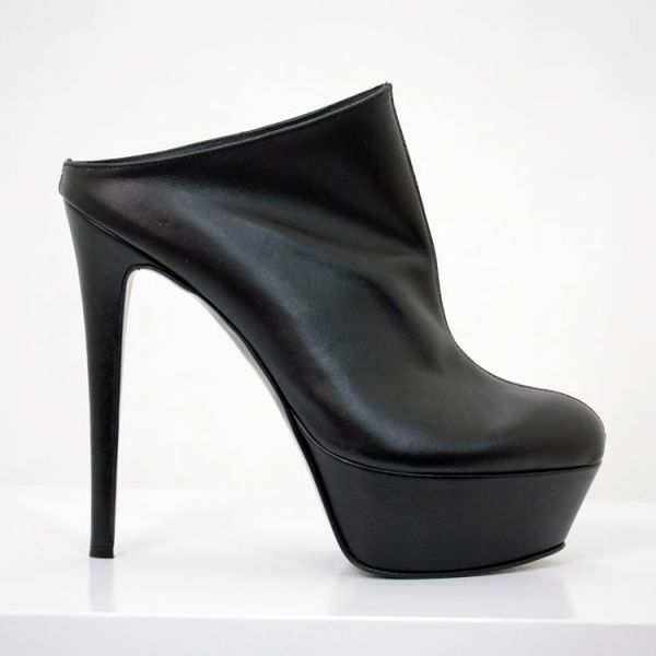 High Heels Plateau Pantolette schwarz Leder - Miceli-Made in Italy