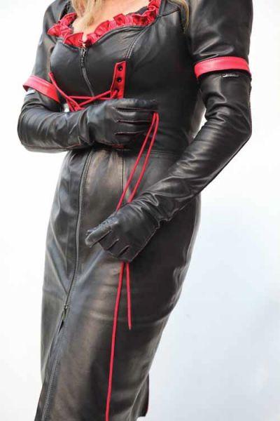 Luxus Lederhandschuhe mit roter Naht 57 cm lang - MICELI-Made in Italy