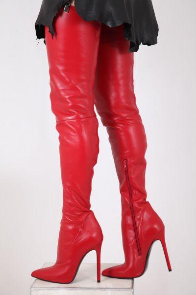 Rote Crotch Overknee Stretchleder Stiefel von Miceli