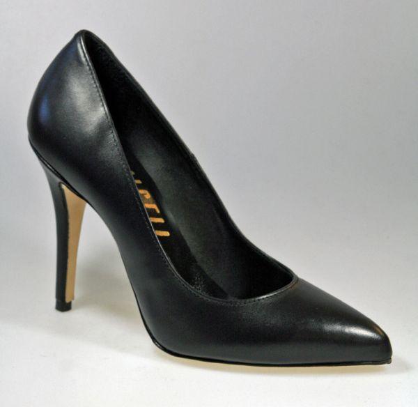 MICELI-444011 schwarz Leder     Klassischer italienischer Pumps in schwarz Leder