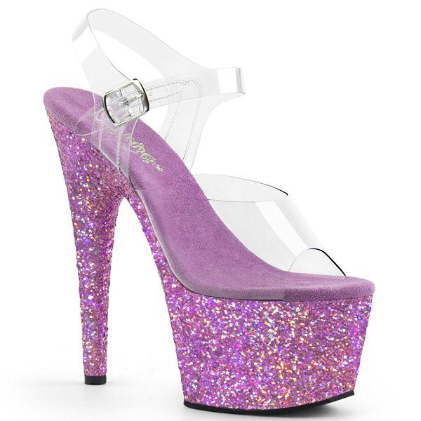 Durchsichtige Riemchen Sandalette mit lavendelfarbenem Glitter Plateau ADORE-708LG