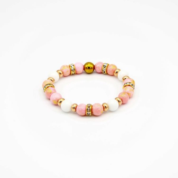 Damen Armband mit Jade Perlen in rose und weiss