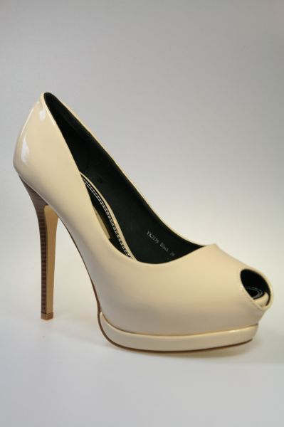 Peep Toe Plateau High-Heels beige Lack