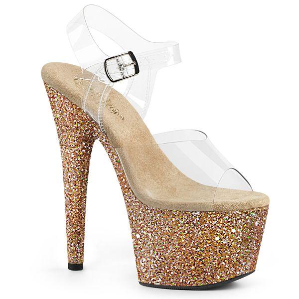 Durchsichtige Riemchen Sandalette mit rosegold Glitter Plateau ADORE-708LG