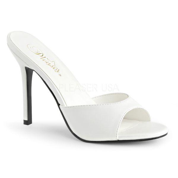 classique 01 high heel pantolette weiss pu pleaser. Black Bedroom Furniture Sets. Home Design Ideas
