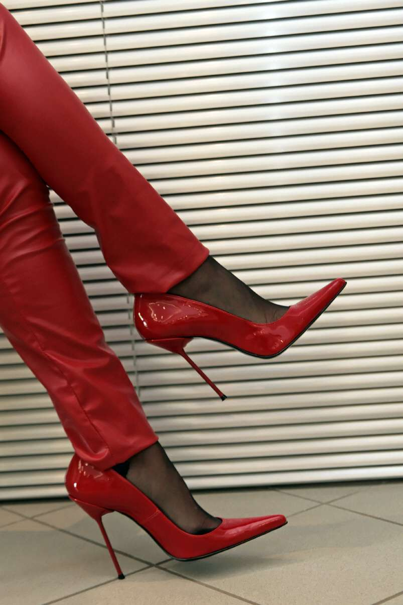 Lack Stiletto High Heels rot