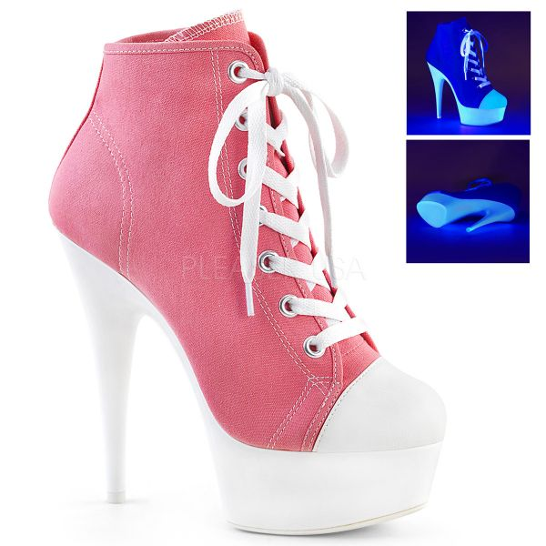 Pleaser High Heel Sneakers DELIGHT-600SK-01 Weiss Canvas High Heel Sneakers ...