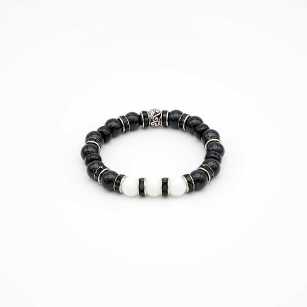 Armband mit runden Jade Naturstein Perlen in schwarz und weiss