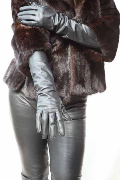 Elegante lange Lederhandschuhe schwarz