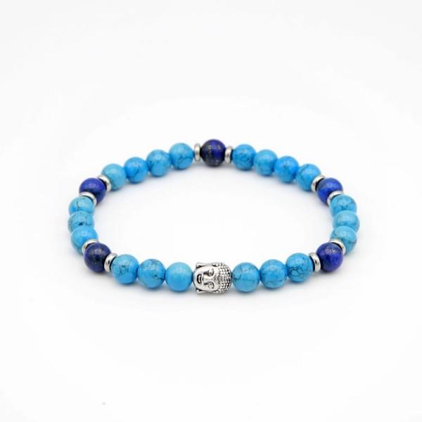 Herren Armband mit Jade Perlen blau und lapis lazuli