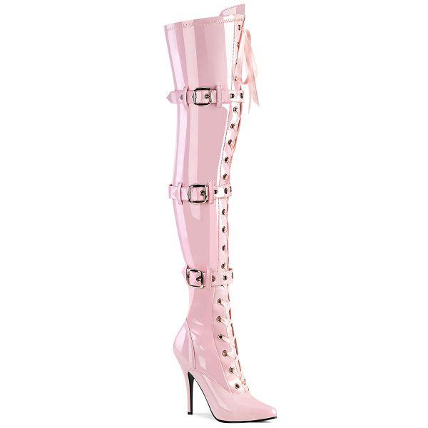 Overknee Stiefel SEDUCE-3028 Lack baby pink mit Schnürung und Schnallen