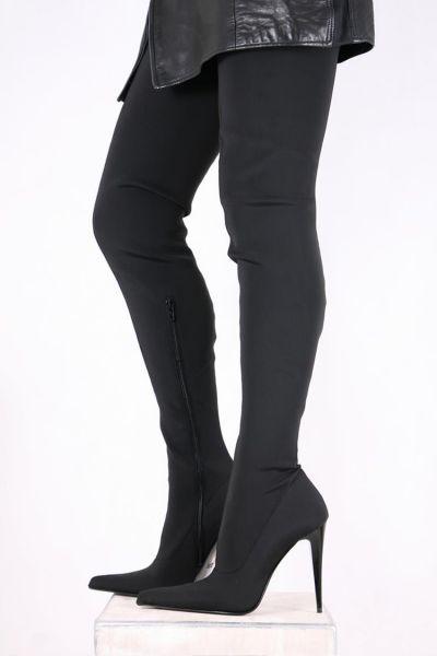 Schwarze Lycra Crotch Overknee Stiefel von Miceli - Made in Italy