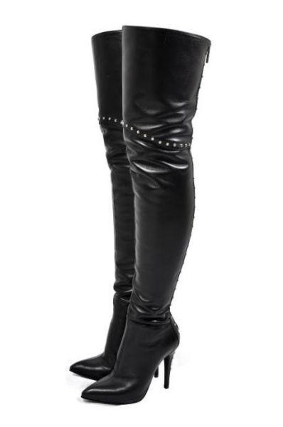 Maßgefertigte Overknee Lederstiefel mit Nieten