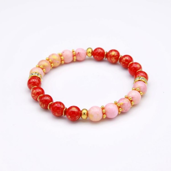 Damen Perlen Armband mit Jade Perlen rot-gold