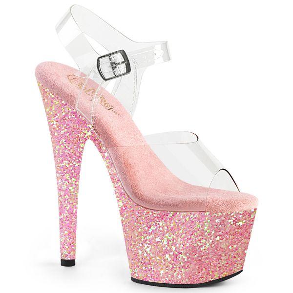 Durchsichtige Riemchen Sandalette mit baby pink Glitter Plateau ADORE-708LG