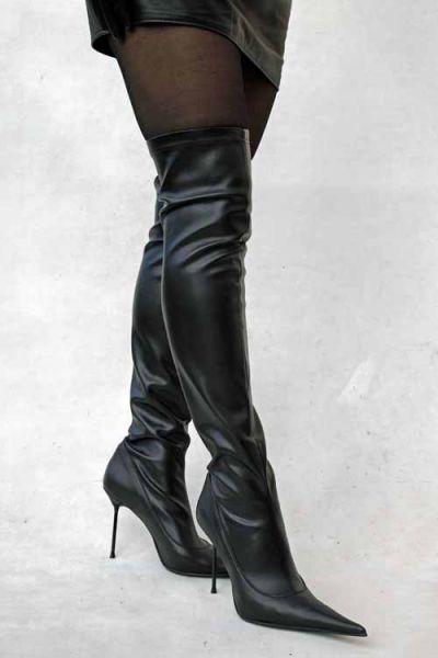 Spitzer Stretchkunstleder-Overknee-Stiefel