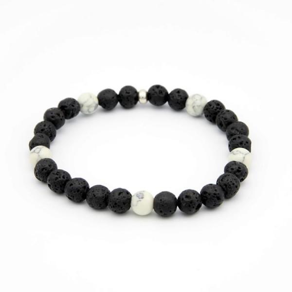 Armband mit Lava Naturstein Perlen schwarz matt und Jade Perlen schwarz-weiss