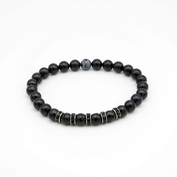 Herren Armband mit schwarzen Jade Naturstein Perlen