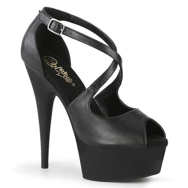 Riemchen Sandalette mit Plateau schwarz Kunstleder DELIGHT-621