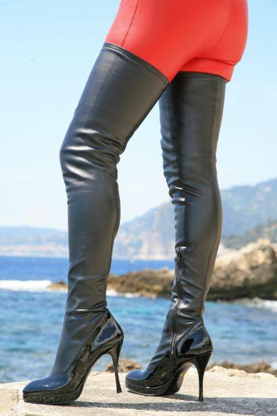 Schwarzer Overknee Stiefel mit kleinem Plateau MICELI-Made in Italy