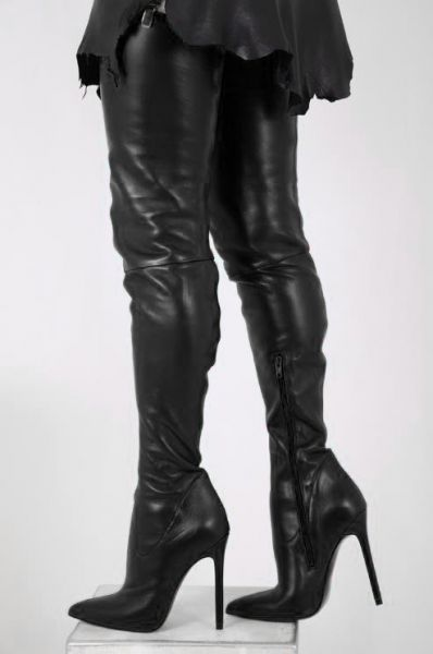 Schwarze Crotch Overknee Stretchleder Stiefel von Miceli