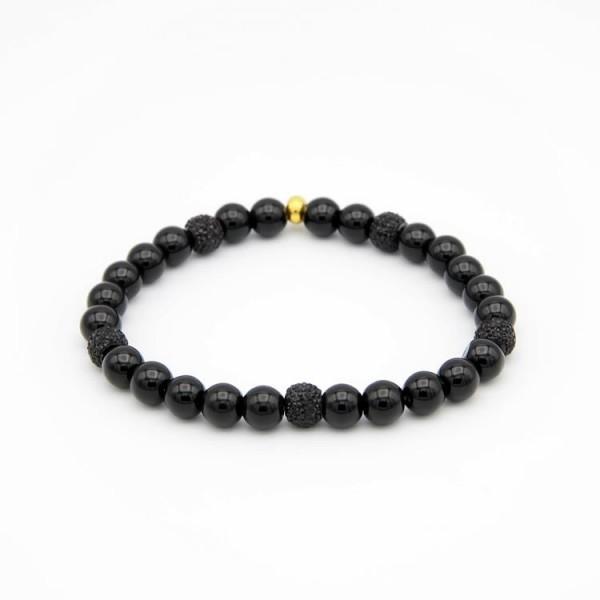 Armband mit schwarzen Jade Naturstein Perlen.