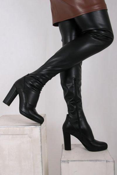 High Heel Overknee Stiefel mit Blockabsatz