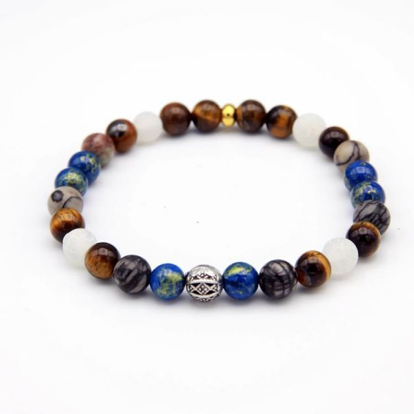 Armband mit Tiger Stone, Jade blau-gold und grau-braun