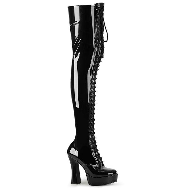 Overknee Plateau Stiefel ELECTRA-3023 schwarz Stretchlack