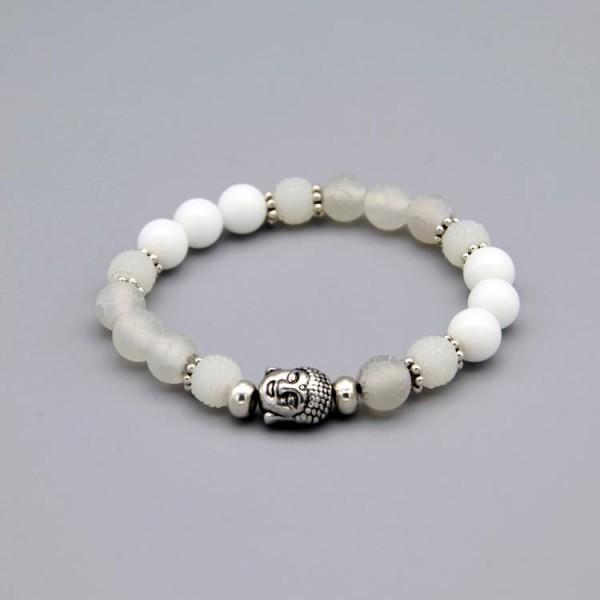 Damen Armband mit weissen Jade Naturstein Perlen