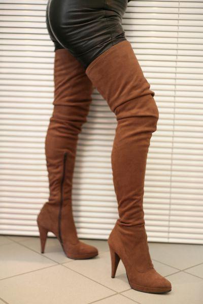 Extralanger High Heel Overknee Plateau Stiefel, Velourkunstleder braun, MICELI-Made in Italy
