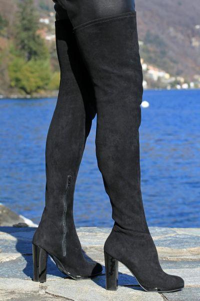 Velour Overknee Stiefel mit Blockabsatz