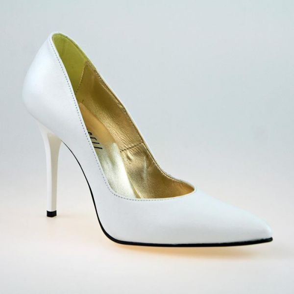 Designer-Pumps weiss Leder mit 11 cm High Heel Absatz - Miceli - Made in Italy
