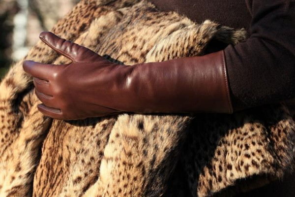 Damen Lederhandschuhe braun mit Seidenfutter