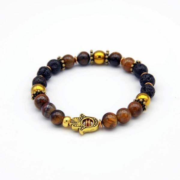 Herren Perlen Armband mit Tiger Stone braun, Lava schwarz, Hematite gold.