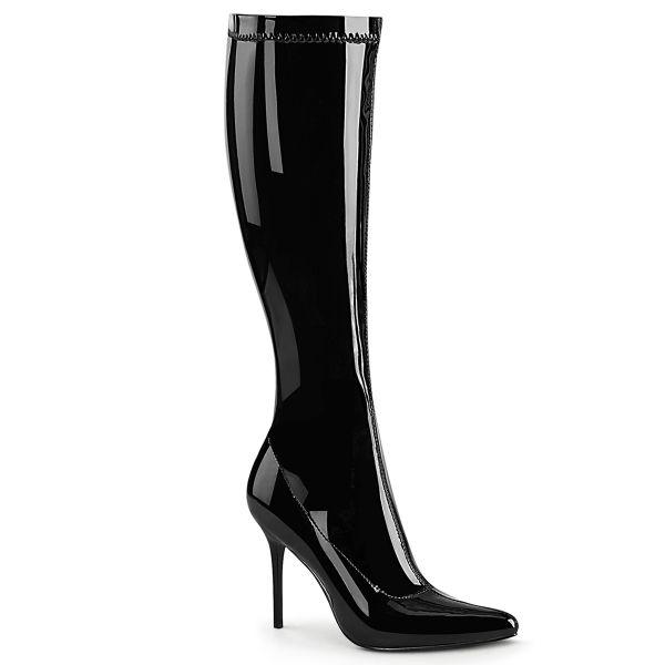 CLASSIQUE-2000 Kniestiefel Stretchlack schwarz mit Reißverschluss