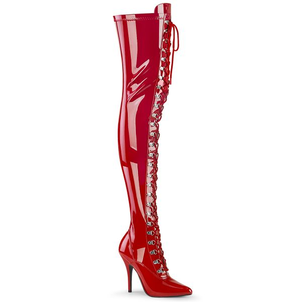 Overknee Stiefel SEDUCE-3024 Lack rot mit Schnürung