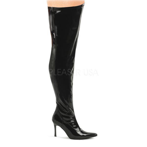Overknee Stiefel LUST-3000X Stretchlack schwarz mit extra weiter Wade und weitem Schaft