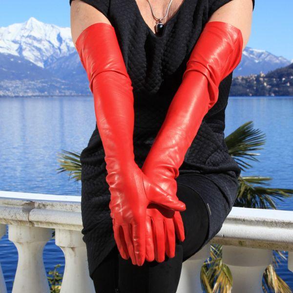 Schulterlange rote Lederhandschuhe - MICELI Gloves