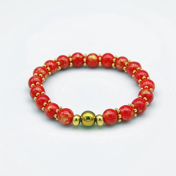 Damen Armband mit roten Jade Perlen