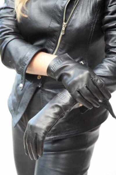 Exklusive kurze Lederhandschuhe mit Seidenfutter - MICELI - Made in Italy