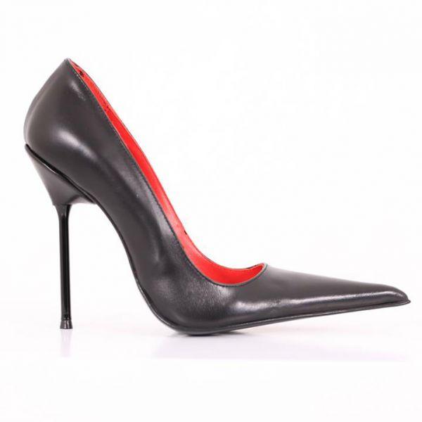 Spitzer italienischer Designer-Pumps, aus hochwertigem Leder gefertigt, mit einem feinen, dünnen High-Heel Metallabsatz, r