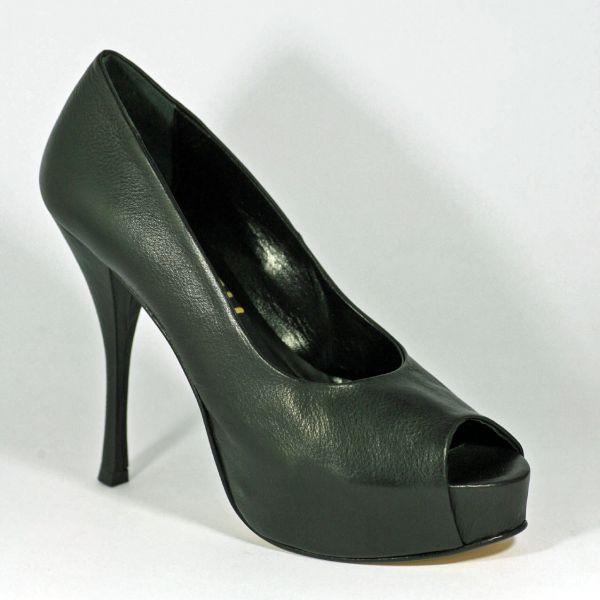 Miceli-3808 Peep Toe High Heels schwarz Leder mit Plateau - eigene Kollektion Miceli - Made in Italy