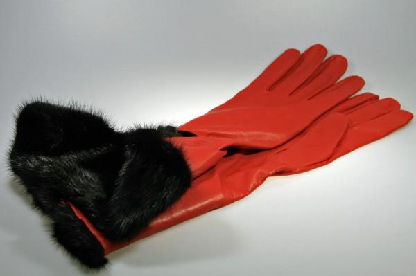 Luxus Herren Lederhandschuhe rot mit Nerz