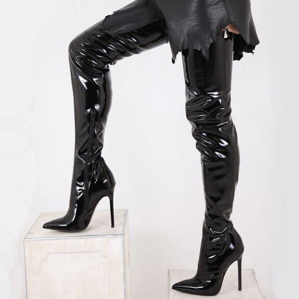 Schwarze Crotch Overknee Lackstiefel von Miceli-Made in Italy