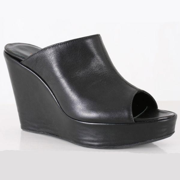 Keil Plateau Pantolette schwarz Leder von MICELI - Made in Italy